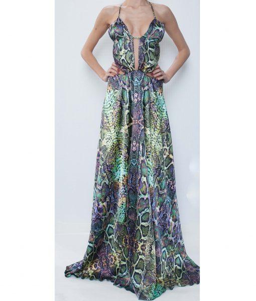 21. Green Python Print Satin Long Dress