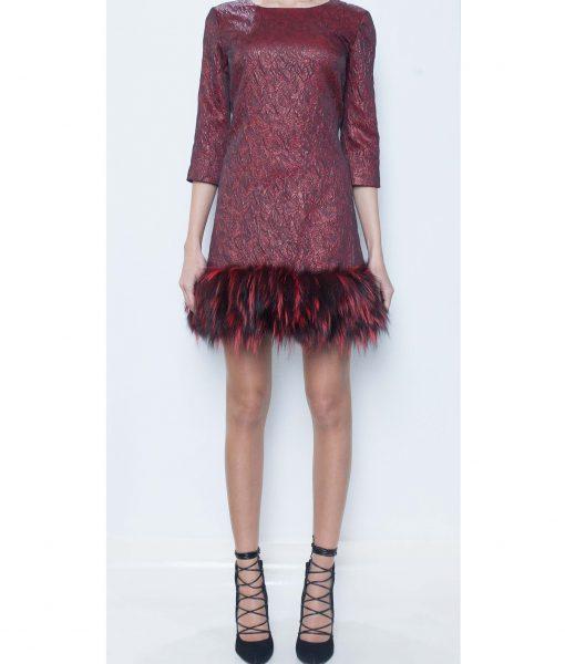 23. Bordo Dress with Fox Fur Trim.