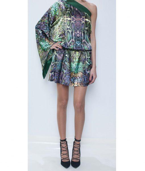 23. Green Python Satin Backless Dress.