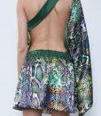 23.cu2 Green Python Satin Backless Dress..