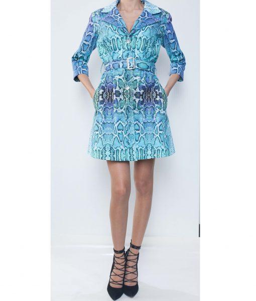 28. Turquoise Python Print Cotton Gabardine