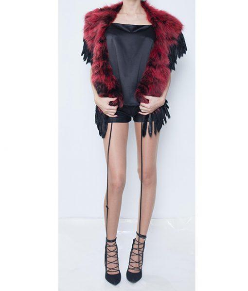 6. Red:Bordo fox fur cover up..